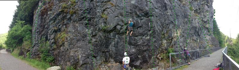 Rock Climbing Photo: Lower bit of Deception wall east. Panorama made it...