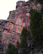 South Face First Buttress <br />AA. Comfortably Numb 5.11d A1 <br />A. A Brief Affair 5.8++ <br />B. Double Barrel Shotgun 5.12d <br />C. Just a Little Swordplay 5.13a <br />D. BioFuel 5.10a R <br />E. The Direct Comfortably Numb Free 5.12c <br /> <br />Out of picture to the right: <br />Lot Lizards 5.12c <br />Puny Pillar 5.10a <br />Down Under 5.10a