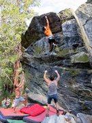 Rock Climbing Photo: Making the long move on Hail Mary (V3).