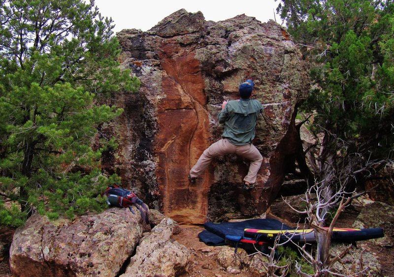 Rock Climbing Photo: Eyeing the small crimp and the likely crux on Let ...