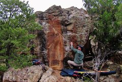 Rock Climbing Photo: Making the first move to the left hand pinch on Le...