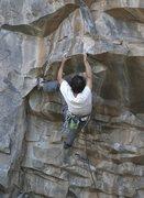 Rock Climbing Photo: Aaron Miller pulling hard.