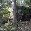 Alternate, more direct, directions: once at the Girlfriend Boulder, go around it to its east side, and you should see two boulders with a pine in front of the second one. Go around to the east of these two boulders, and you should be able to see the stand alone boulder ~30 feet southeast of the second boulder.