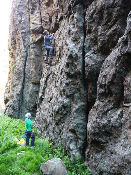 Baker climbing this fun route