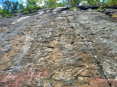 Rock Climbing Photo: The thin crack in the red face, right of Poison Iv...