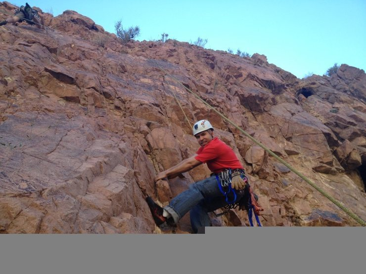 Rock Climbing Photo: This top rope is set up on the chains for this rou...