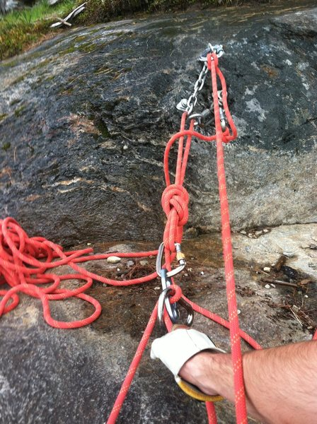 Anchor at the top of Charlotte's Crack, pitch 2