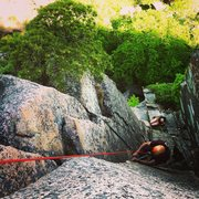 Rock Climbing Photo: View from the top of pitch 2. Jon Tierney cleaning...