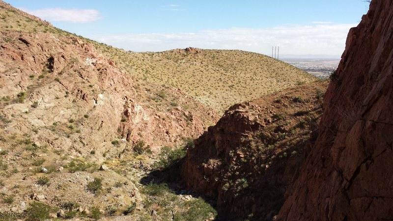 Rock Climbing Photo: Looking down the canyon from the top of Lost Padre