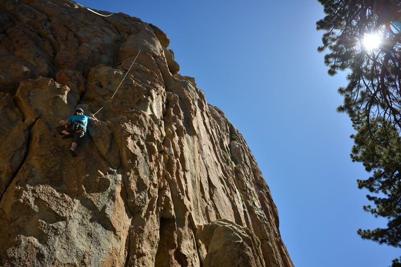 Rock Climbing Photo: Marisa Fienup climbs Ball and Chain, at Castle Roc...