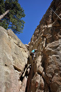 Rock Climbing Photo: Marisa Fienup climbs through the crux of The Great...