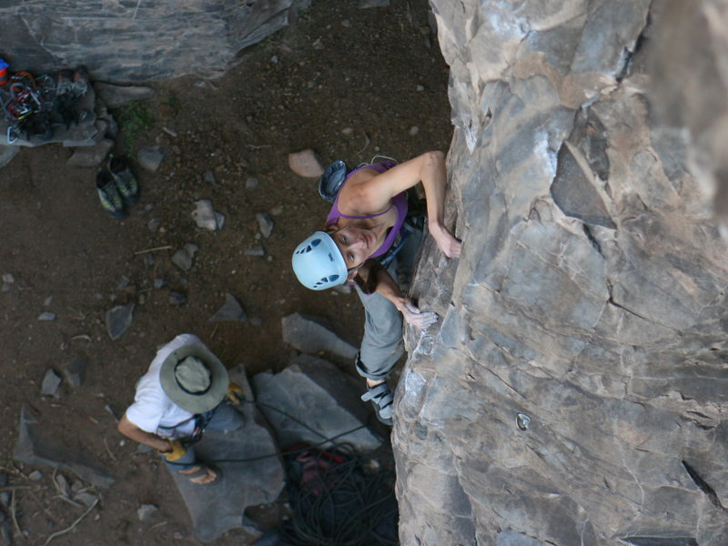 Amy finishing the lower technical crux of Galaga.