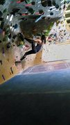 Rock Climbing Photo: at the gym, trying moves on a V7