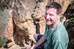 Rock Climbing Photo: Partner laughing on top of Smith Rock Group. Perfe...