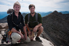 Rob DeBruyn & Clint Valentine. Long day at 14,000ft. First alpine rock route. Happy and sufficiently worn out!