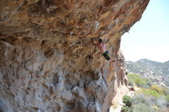 Rock Climbing Photo: Must remember to keep feet on for Redpoint!