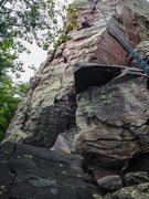 Rock Climbing Photo: traversing from one crack to the other