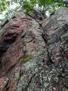 Rock Climbing Photo: The curved rock is in the upper left