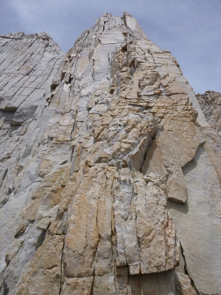 Looking up at Pitch 5 after downclimbing to the notch on Fishhook Arete.  Beatuiful!