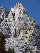 Rock Climbing Photo: This is the route we took up the Impala. I believe...