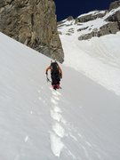 Rock Climbing Photo: John Evans at the top of the glacier, heading for ...