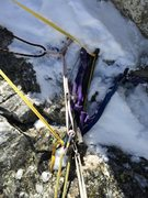 Rock Climbing Photo: Rappel at south summit, two old pins & a tri-cam. ...