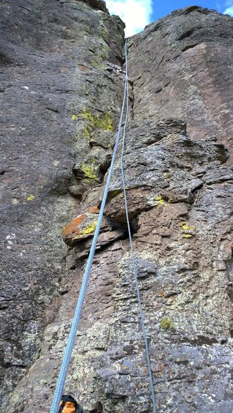 Photo from the bottom of the climb looking up. See the chalk bag and rope for scale if you need.