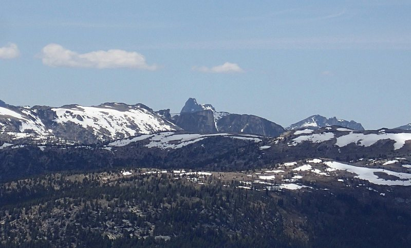Bauerman Ridge with Cathedral Peak in the distance (center) in June - from the east.