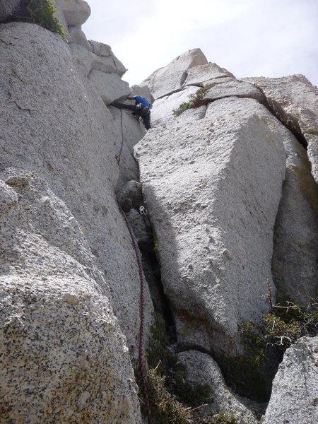 Rock Climbing Photo: Joe, leading the nice fourth pitch of the Diagonal...