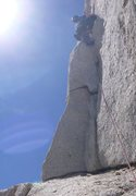Rock Climbing Photo: Joe on the top-notch wide corner crack on the fals...