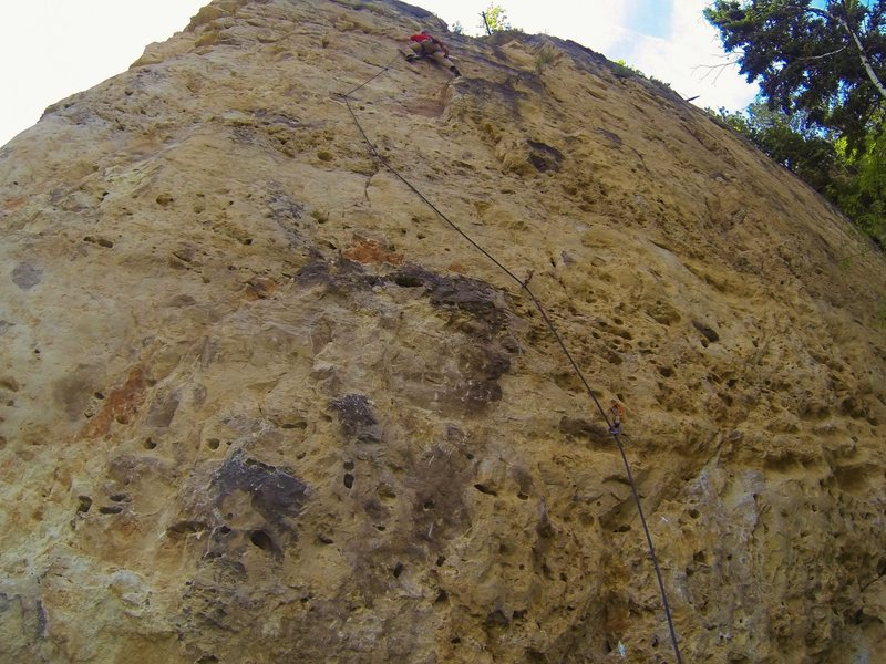 Come On Eileen, 5.10a.<br> Bradyism Wall. Big Picture Gully.<br> Spearfish Canyon, SD.