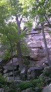 "Rock Climbing Photo: Bottom portion of ""Yale"". The large bloc..."