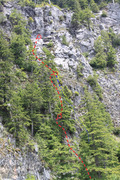 """Rock Climbing Photo: An oblique view/topo of """"Ablation Zone"""" ..."""