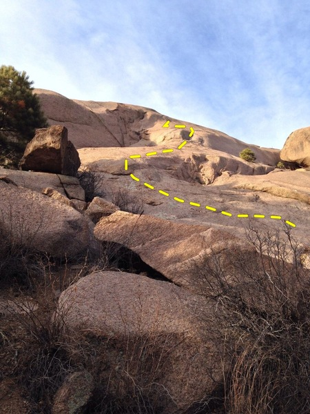 Rock Climbing Photo: Looking up the left side of the slab from the bott...