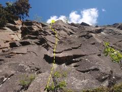 Rock Climbing Photo: Start climbing a runnout section under two bolts w...