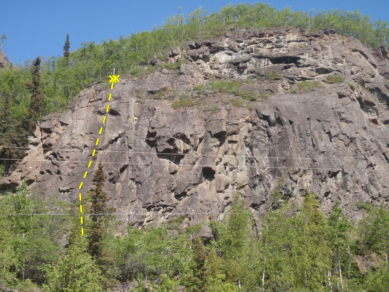 Rock Climbing Photo: Climb 30 feet right of the pine growing at the top...