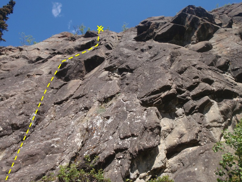 Red Road climbs the left most sport route at the wall.