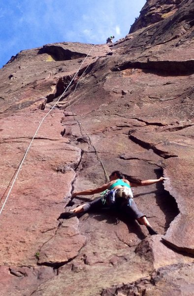 Climbing top roped.