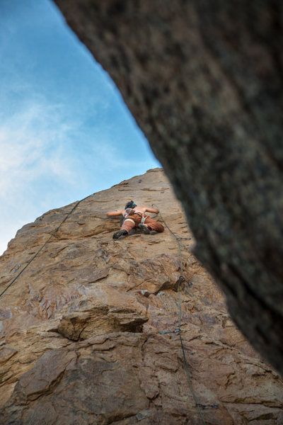 Up on the series of crimps that make this route a 10.d