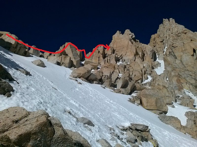 snow conditions along the ridge line of the bottom half of the east buttress