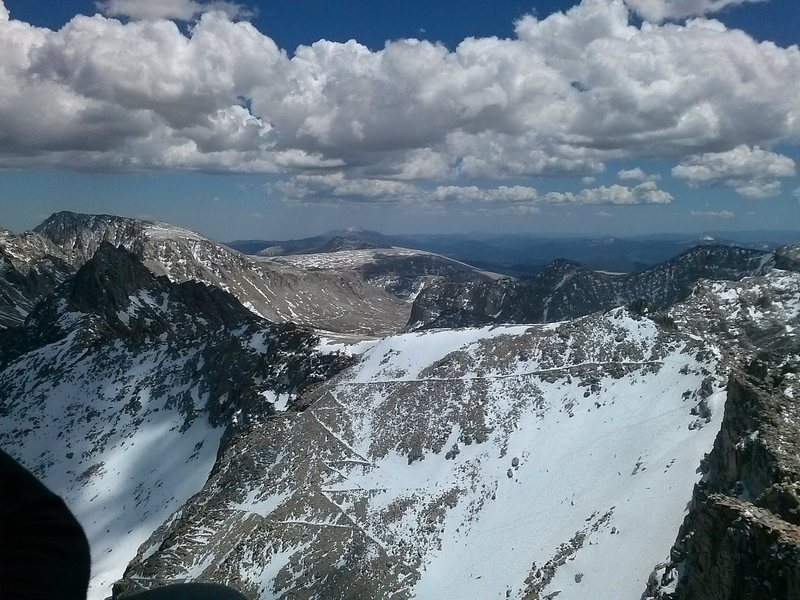 99 switchbacks and trail crest snow field