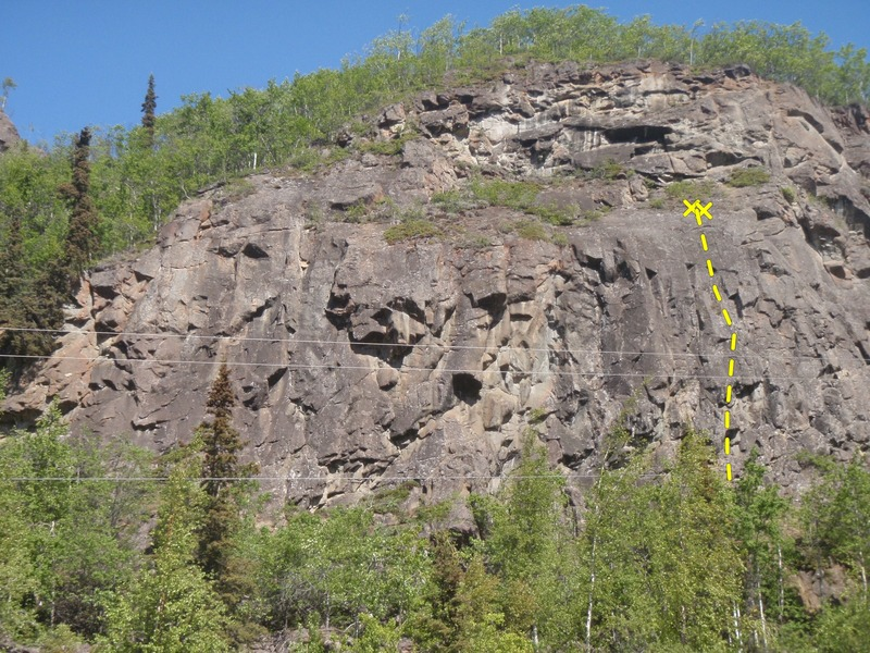 Rock Climbing Photo: Marital Bliss is located above the small pine tree...