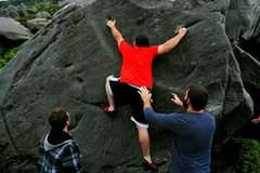 "Rock Climbing Photo: Sticking the pocket on ""Everybody's Doing It&..."
