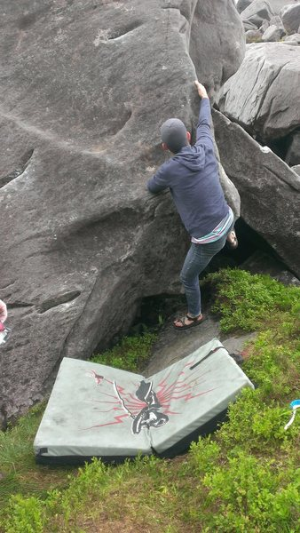 Rock Climbing Photo: Crux Move. (Keeping your feet on, of course. It he...