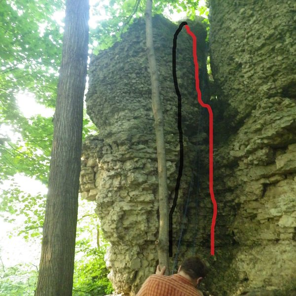 Rock Climbing Photo: Betty's delight in black, Choss chimney in red.
