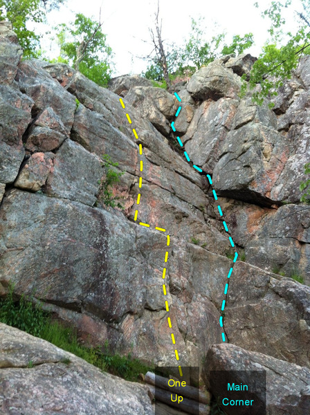 Main Corner. Great area to bring beginners or new trad leaders to. Lots of easy (5.3-5.7) low angle trad routes.<br> <br> One Up<br> Main Corner