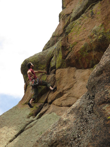 Joe heads into the steep (steeper than it looks) crux of the NW Arete (5.9+) on Desdemona.
