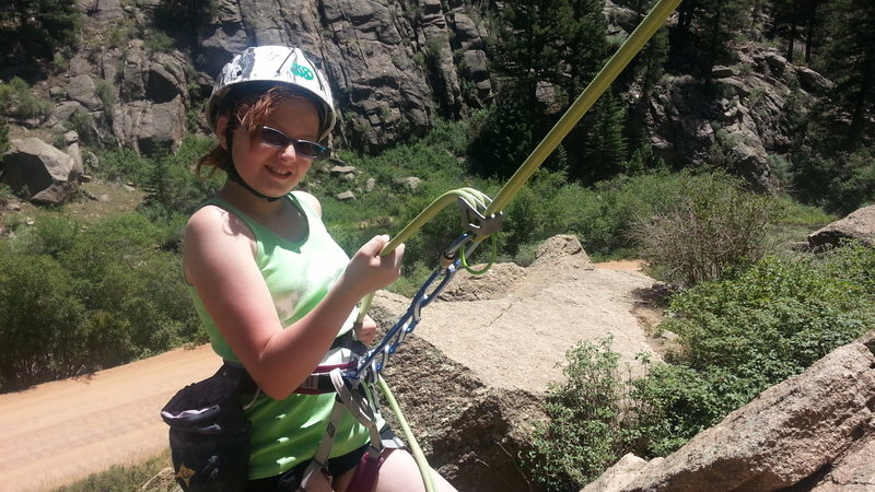 Rock Climbing Photo: Beverae finishing her first rappel after her first...