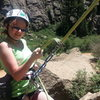 Beverae finishing her first rappel after her first outdoor climb!
