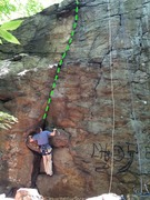 Rock Climbing Photo: Prickly Pear route.  Person pictured for a height ...